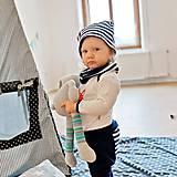 Detské oblečenie - Tepláky (modré s prúžkom) - 6530672_