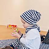 - Obojstranná čiapka s nákrčníkom (modré, pruhovano bodkované) - 6531699_