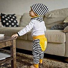 Detské oblečenie - Tepláky (pruhovano-žlté) - 6530559_
