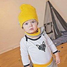 Detské oblečenie - Body s líškou (čierno-biele) - 6530894_