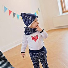 Detské oblečenie - Body s líškou (červená, modro-biele body) - 6530973_