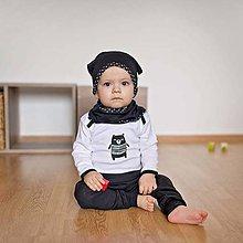 Detské oblečenie - Body s mackom (čierno-biele) - 6530984_