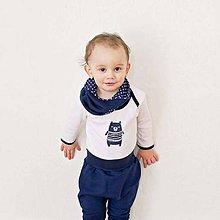 Detské oblečenie - Body s mackom (modro-biele) - 6531012_