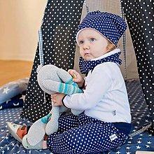 Detské čiapky - Čiapka s nákrčníkom (modrá, bodkovaná zateplená) - 6531271_