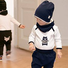 Detské čiapky - Čiapka s nákrčníkom (modrá, zateplená) - 6531350_
