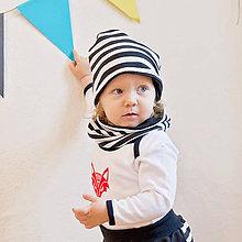 Detské čiapky - Obojstranná čiapka s nákrčníkom (čierno-pruhované) - 6531369_