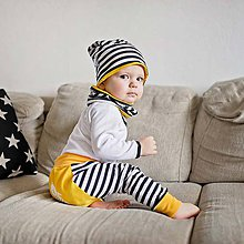 Detské čiapky - Obojstranná čiapka s nákrčníkom (pruhovano-žlté) - 6531451_