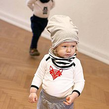 Detské čiapky - Obojstranná čiapka s nákrčníkom (šedo pruhované) - 6531570_