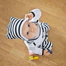 Detské čiapky - Čiapka s nákrčníkom ( čierna, pruhovaná, zateplená) - 6531590_