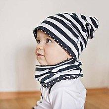 Detské čiapky - Obojstranná čiapka s nákrčníkom (čierne, pruhovano bodkované) - 6531612_