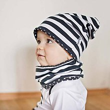 03d90259f9c9 Detské čiapky - Obojstranná čiapka s nákrčníkom (čierne