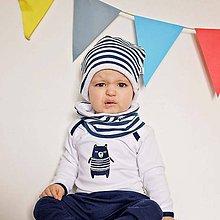 Detské čiapky - Čiapka s nákrčníkom (modré pruhované, zateplené) - 6531685_