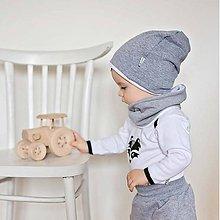 Detské čiapky - Čiapka s nákrčníkom (šedá, zateplená) - 6531718_