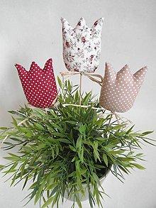 Dekorácie - Tulipány mocca/bordo - 6535221_