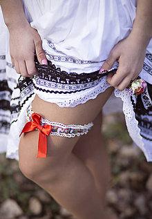 Bielizeň/Plavky - Svadabný folklórny podväzok - 6535326_