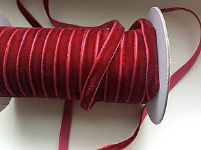 Galantéria - Sametová stuha - červená - 6536444_