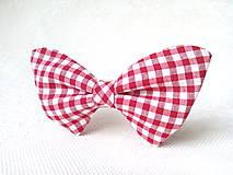 Náhrdelníky - Kockovaný dámsky motýlik (červeno-biely) - 6540860_