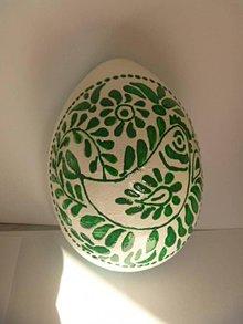 Dekorácie - Vajíčko so zeleným ornamentom - 6538612_
