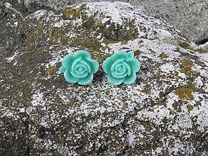 Náušnice - kvetinky tyrkysové - 6541606_