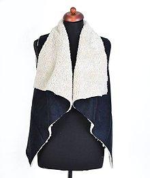 Iné oblečenie - Kožušinová vesta Čierna - 6540525_