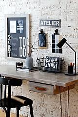 Nábytok - Pracovný stôl INDUSTRY BROWN so šuflíkmi - 6539323_