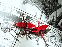 Náušnice - Jeřábci červení - 6539480_