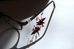 Náušnice - Jeřábci tmavě rudí - 6539518_