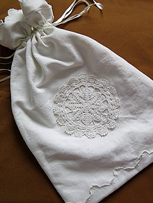 Úžitkový textil - ľanové vrecko na chlieb - 6539065_