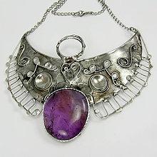 Náhrdelníky - Cínovaný náhrdelník archaniel Zadakiel s ametrínom - 6545870_