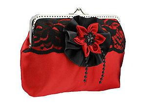 Kabelky - Saténová červená spoločenská kabelka s čipkou 01H - 6546896_