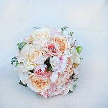 Kytice pre nevestu - Svadobná kytica pre nevestu jemná ružovo-broskyňová - 6545838_