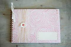 Papiernictvo - Svadobná kniha hostí - púdrová ruža - 6544775_