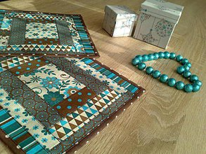 Úžitkový textil - Podšálky..čarovný tyrkys :) - 6545365_