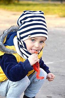 Detské čiapky - Bavlnená čiapka prúžok navy - 6546273_