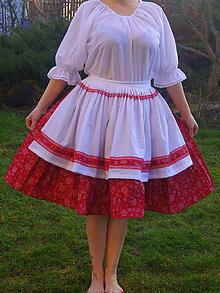Sukne - červená sukňa s fertuchou - 6543159_