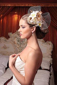 Ozdoby do vlasov - luxusný fascinátor so závojom (Typ 86) - 6550873_