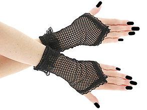 Rukavice - Gothic rukavičky z čiernej sieťoviny a čipky 0530 - 6550331_