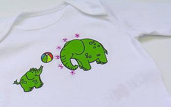 Detské oblečenie - Maľované body Sloníky - 6549347_