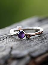 Prstene - Vetvičkový prsteň strieborný s ametystom alebo... - 6547607_