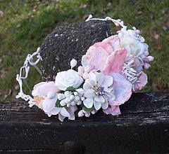 Ozdoby do vlasov - Vintage ružový svadobný venček - 6549926_