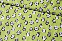 Textil - Sovičky na svetlozelenej - posledná šanca - 6551984_