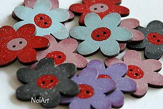 Materiál ručne robený - Gombíčky farebné kvetované - 6553310_