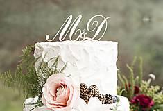 Dekorácie - ozdoba na tortu - iniciálky (Biela) - 6551390_