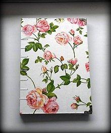 Papiernictvo - Vintage denník/notes/diár/ Zápisník/ svadobný plánovač Ružová záhrada - 6551902_