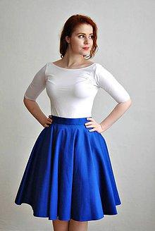 Sukne - Modrá kolová sukně - 6554693_