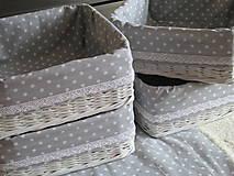Košíky - Košík so šedou bodkou - 6555586_