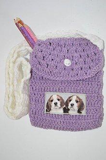 Detské tašky - ....pre malú parádnicu... Fialková háčkovaná kabelka s nášivkou so psíkmi - 6555257_