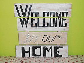 Tabuľky - ZĽAVA 10% - drevená tabuľa HOME - 6557405_