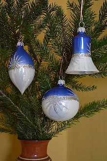 Dekorácie - Vianočná sada na stromček modro- biela - 6555037_