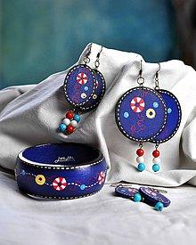 Sady šperkov - Drevený maľovaný náramok a náušnice - Nautical - 6557777_